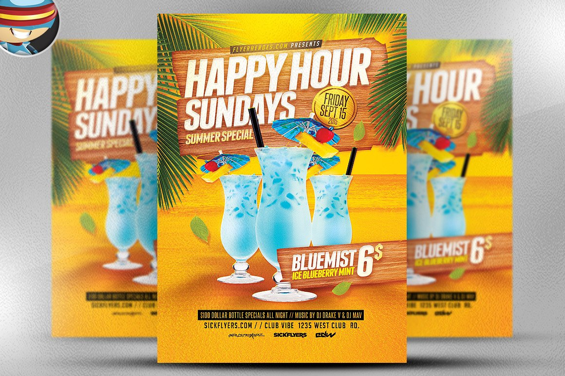 Summer Happy Hour Flyer Template Flyer Templates