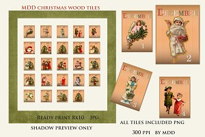 Vintage Style December Wood Tiles
