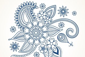 Blue floral design element