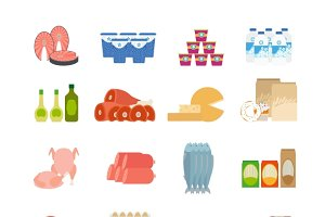 Supermarket food flat icons