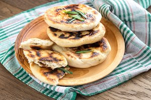 Grilled flatbreads with rosemary