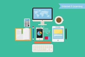 Flat Design Concept Internet