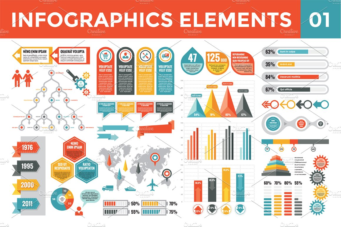 Infographics Elements 01 Presentation Templates Creative Market
