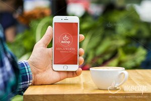 "iPhone PSD Mockup Coffee Time ""A"""