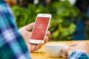 "iPhone PSD Mockup Coffee Time ""B"""