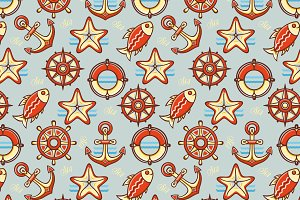 3 seamless sea pattern. Added bonus