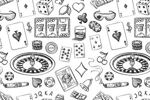 Seamless casino hand drawn pattern