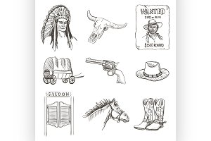 Wild west icon,western wanted cowboy