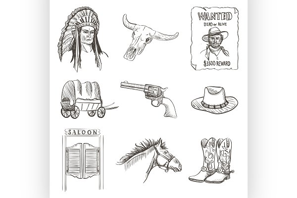 Wild west icon,western wanted cowbo…
