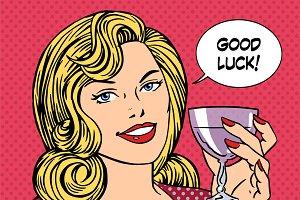 Beautiful woman toast glass wine