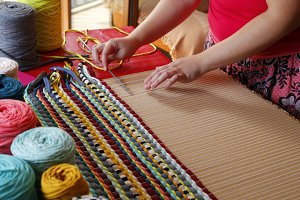 Woman hands weaving