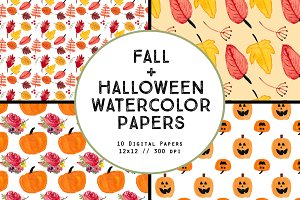 Watercolor Fall Halloween Papers