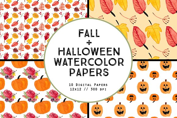 Watercolor Fall Halloween Papers in Patterns