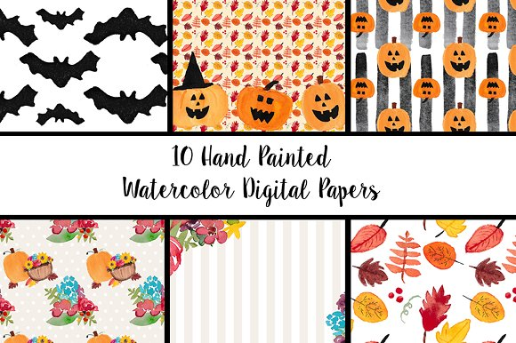Watercolor Fall Halloween Papers in Patterns - product preview 1