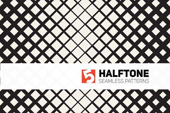 Five Halftone Seamless Patterns