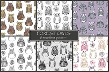 Forest owls. Seamless patterns.