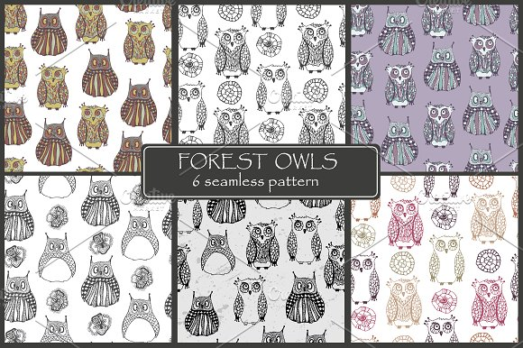 Forest owls. Seamless patterns. - Patterns