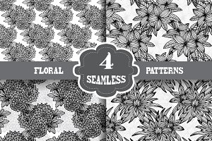 Black and White Floral Patterns(5)