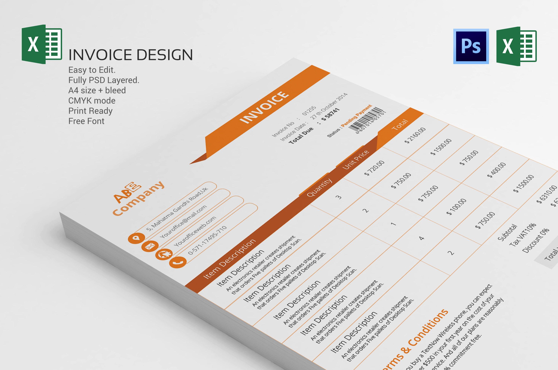 invoice template design stationery templates creative market