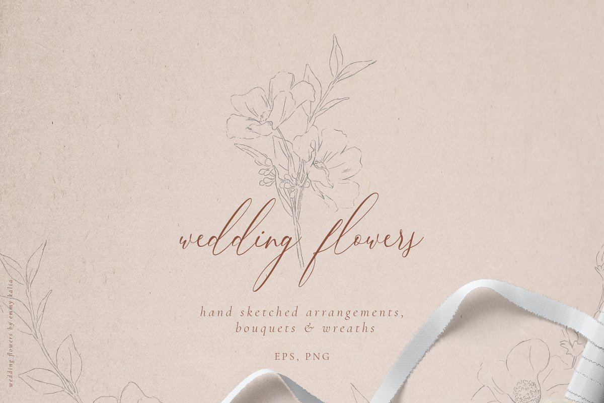 Sketched Wedding Flowers Clip Art Illustrations Creative Market