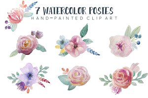Watercolor floral bunches