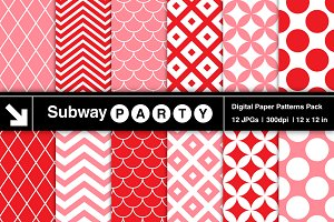 Pink & Red Retro Geometric Papers