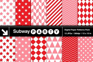 Pink & Red Geometric Papers