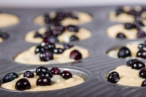 Huckleberry muffins baking