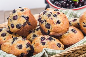 Huckleberry muffins in basket