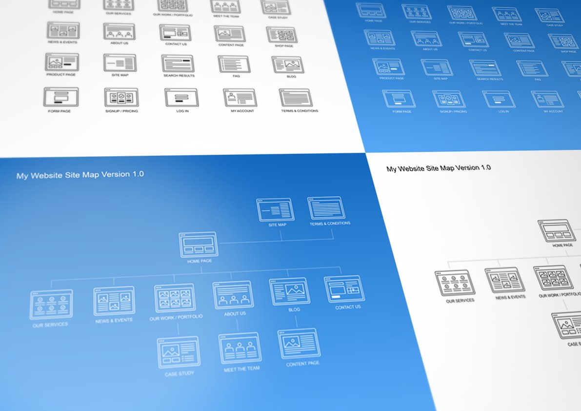 Website Site Map Kit Product Mockups Creative Market - Powerpoint sitemap template