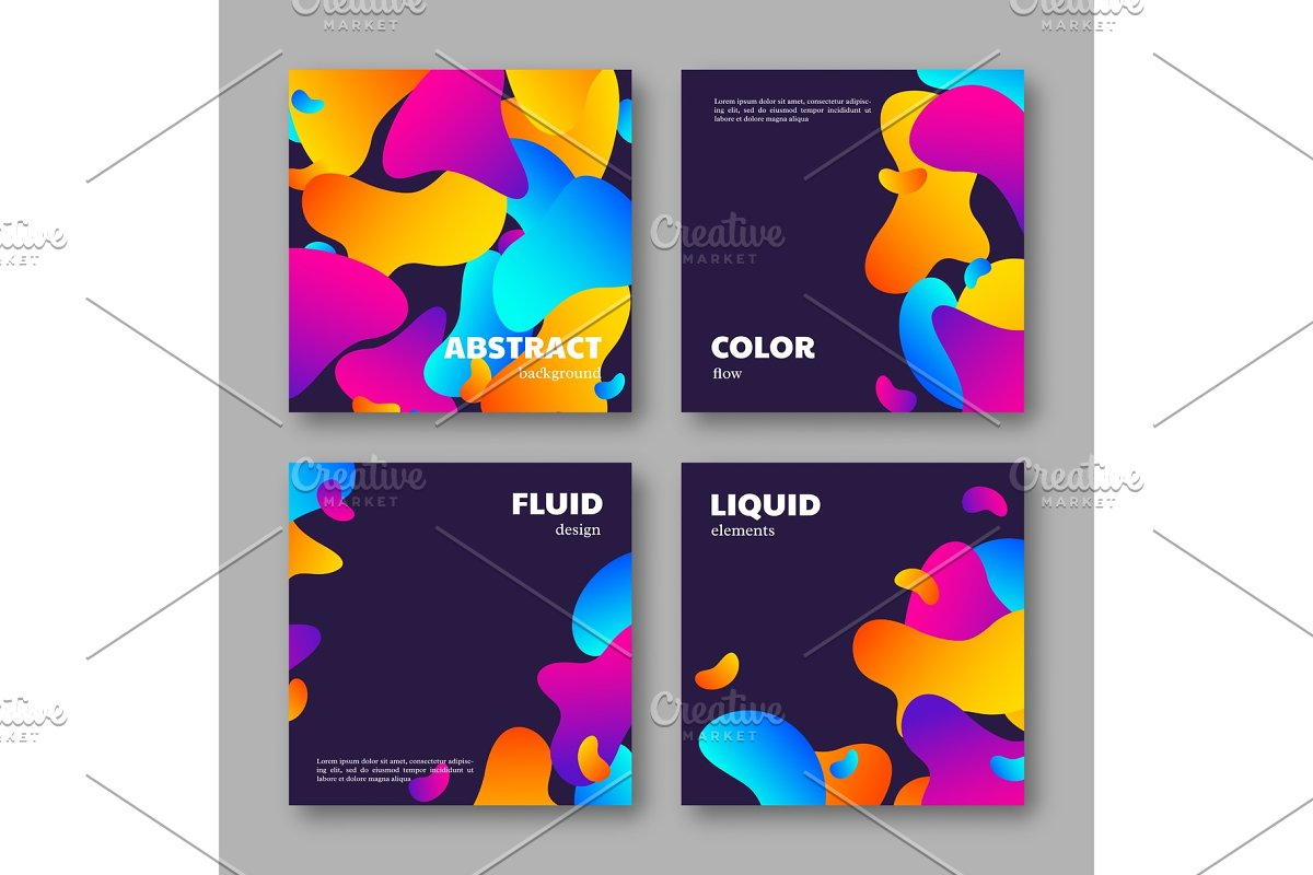 Set of cards with abstract liquid
