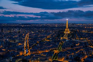 Paris cityscape by night