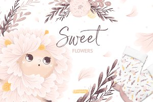 Sweet Flowers Floral graphic set