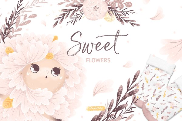Graphics: tatiletters - Sweet Flowers Floral graphic set
