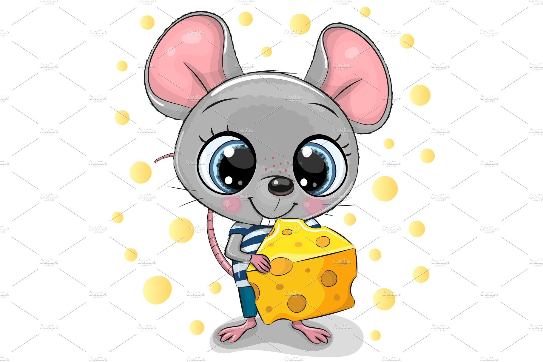 Cute Cartoon Mouse With Cheese Pre Designed Vector Graphics Creative Market