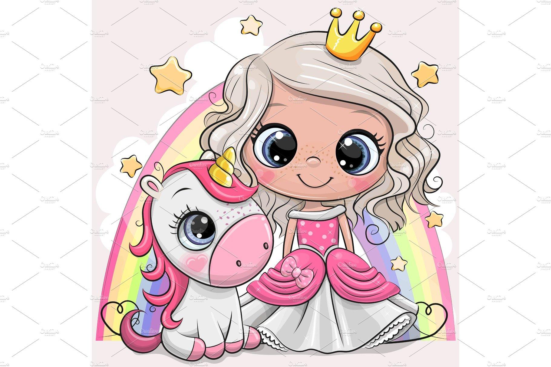 Cartoon Princess And Unicorn Pre Designed Vector Graphics Creative Market