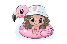 Cartoon girl swimming on pool