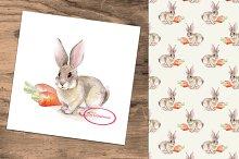 Rabbit. Watercolor + seamless.