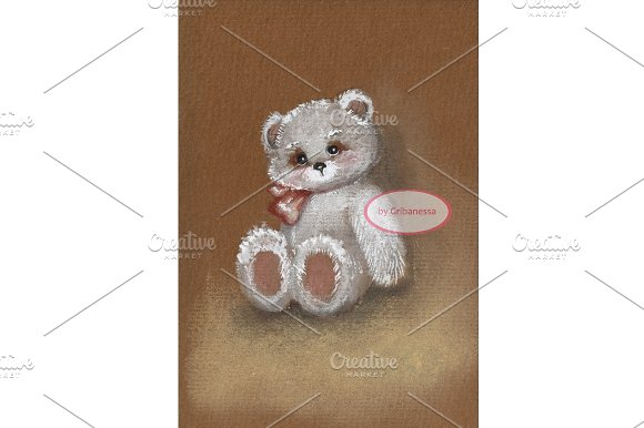 White teddy. Hand-drawn