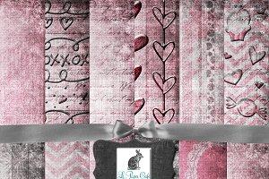 Shabby Pink Valentine Digital Paper