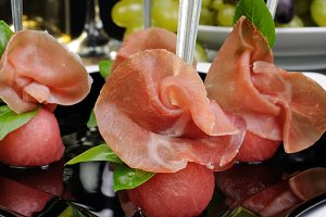 Canape of watermelon balls  gammon