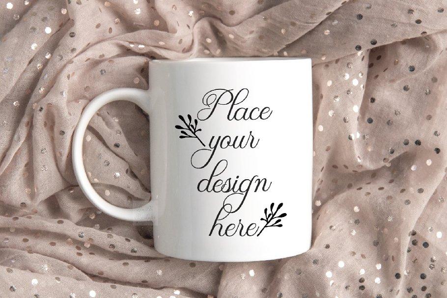 White coffee mug mockup psd flatlay
