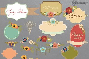 Floral Frames and Bouquets Vectors