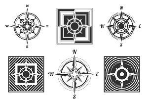 Set vector antique compasses