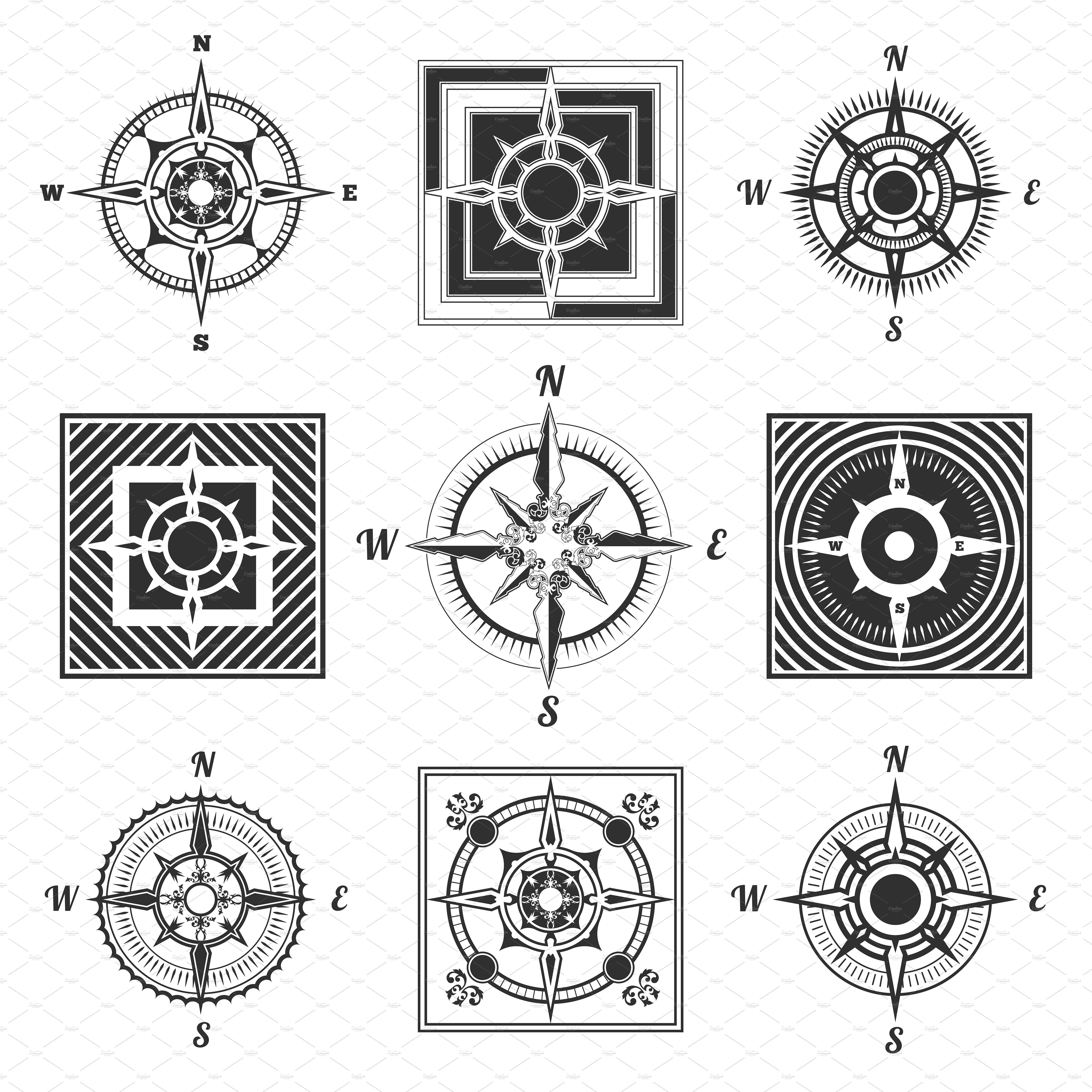 Set vector antique compasses ~ Illustrations ~ Creative Market