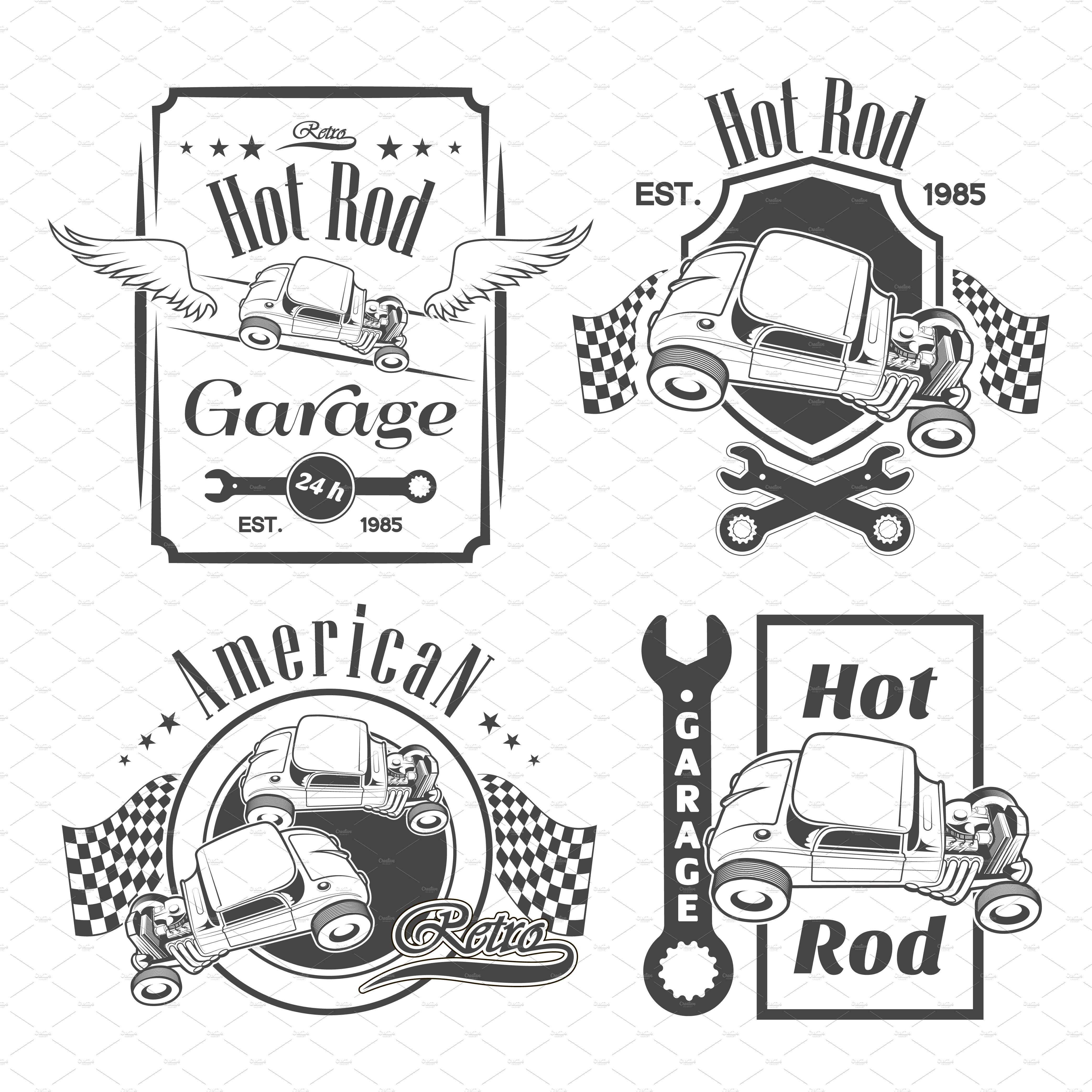 set of hot rod labels illustrations creative market. Black Bedroom Furniture Sets. Home Design Ideas