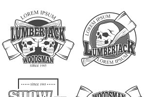 Set of vintage lumberjack labels