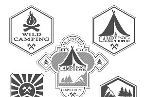 Set of vintage woods camp badges