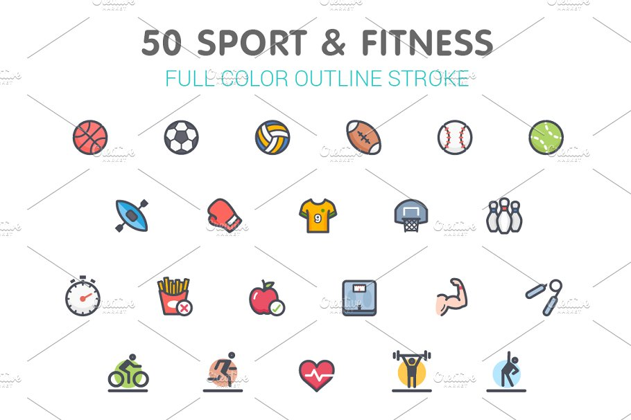 50 Sport & Fitness Full-Color Icon