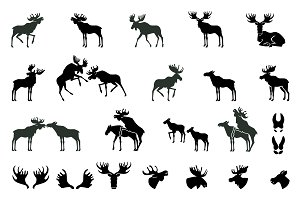Set of Moose Silhouettes. Vector Ima
